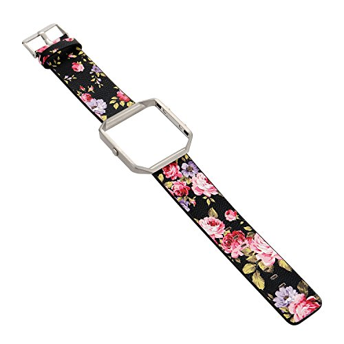 Replacement Band for Fitbit Blaze, Watchband Floral Soft Leather Strap Replacement Watch Band Wristband Bracelet Strap and Frame for Fitbit Blaze