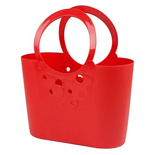 Borsa spiaggia cestino flessibile multiuso Lily 48 x 22 x 56,5 cm colore: rosso corallo