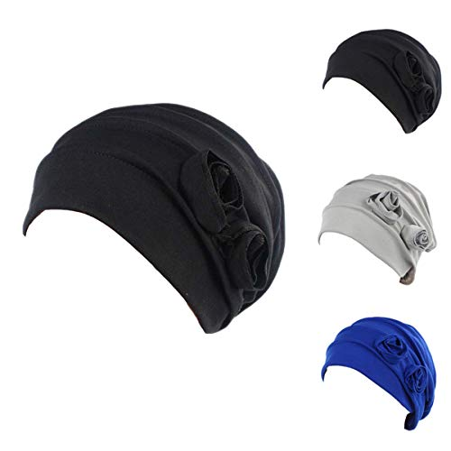 Ever Fairy 3 Colors Pack Chemo Cancer Head Scarf Hat Cap Ethnic Cloth Print Turban Headwear Women Stretch Flower Muslim Headscarf (3 Colors -