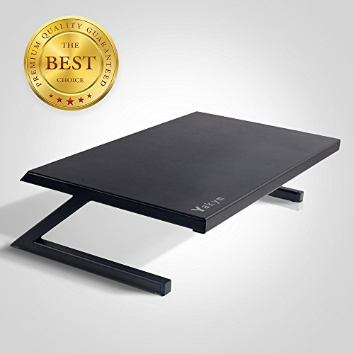Metal TV Monitor Screen Stand, Ergonomic Laptop Notebook Tray, Computer Shelf, Gaming Console Riser, Keyboard Printer Mount, Multi-Functional Heavy Duty Steel Desk Space Saver, Wear-Resistant Organize