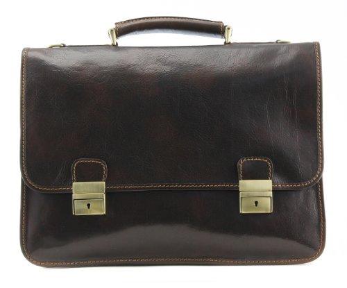 Alberto Bellucci Men's Italian Leather Double Compartment Briefcase D. Brn Laptop Messenger Bag Dark Brown One Size [並行輸入品]   B078G7QDKQ
