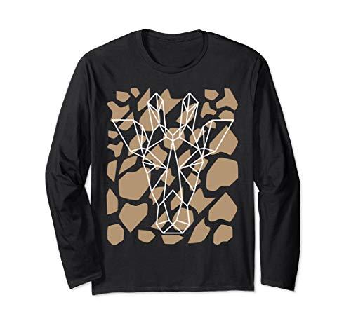 Giraffe Geometric Long Sleeve T-Shirt Giraffes Pattern Tee