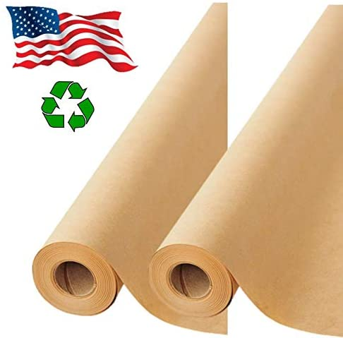 "2 Pack Brown Kraft Paper Made in USA 17.75"" x 1200"" Per Roll (200 feet) Ideal for Gift Wrapping, Art, Craft, Postal, Packing, Shipping, Floor Covering, Dunnage, Table Runner, 100% Recycled Material"