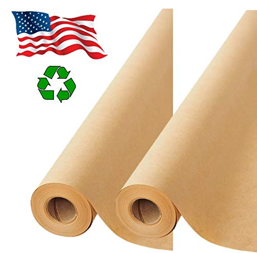 2 Pack- Brown Kraft Paper Made in USA, Ideal for Gift Wrapping, Art, Craft, Postal, Packing, Shipping, Floor Covering, Dunnage, Parcel, Table Runner 17.75