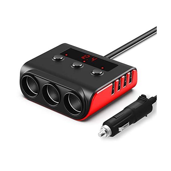 41c4JRfGecL Auto Ladegerät Adapter, SONRU 3 Fach KFZ Zigarettenanzünder Verteiler mit 4 USB Ports, 120W 12V/24V DC Mehrfach…
