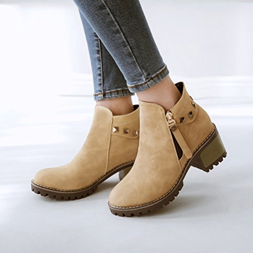 Agodor Womens Platform Studs Block Heel Ankle Boots Nubuck Leather Round Toe Shoes With Zip Beige exY6eYLMl