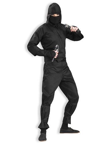 Ninja Costumes Adult (Men's Deluxe Ninja Costume, Black, One Size)