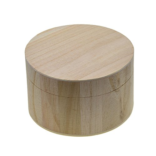 Baoblaze Unpainted Wooden Storage Box Case Round for Jewelry Small Gadgets Gift Wood DIY Home Storage Box Natural Wooden Craft Box With Magnetic Lid Lock DIY Art Craft ()