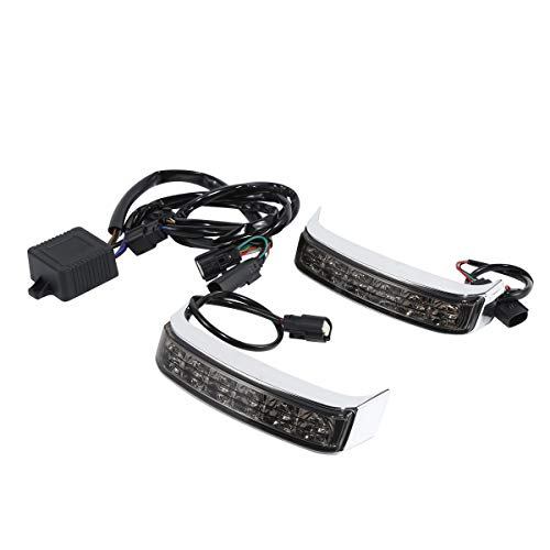 - LED Saddlebag Run/Brake/Turn Lamp Fits for Harley Davidson Touring 2014-later FLHTCU, FLHTCUL, FLHTK, FLHTKL, FLTRU and 2016-later FLHTKSE and FLTRUSE models,Smoked Lens/Chrome Housing/Red Lights