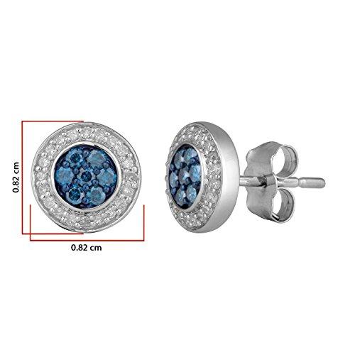 Jewelili femme  9carats (375/1000)  Or blanc|#Gold Rond   Bleu Diamant