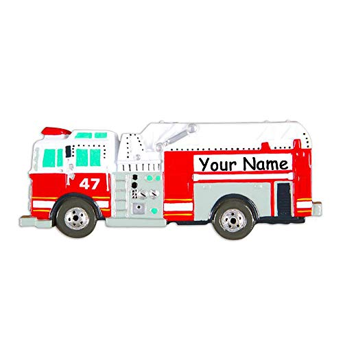 Personalized Firefighter Fire Truck Engine Painted Parts Detail Hanging Christmas Ornament Custom Name