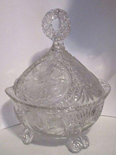 Byrdes Crystal Three Footed Candy Dish w/Lid Bird Design