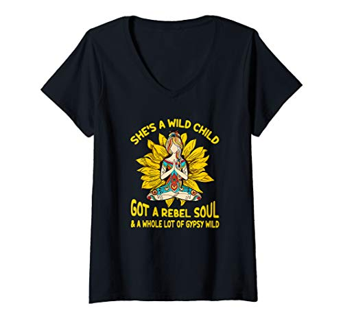 Womens She's a wild child got a rebel soul & a whole lot of gypsy V-Neck T-Shirt