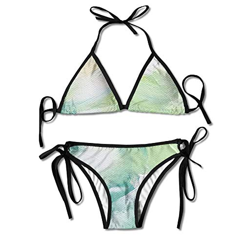 Bikini Set Oil Paint Adjustable Strap Tie Side Bottom, used for sale  Delivered anywhere in Canada