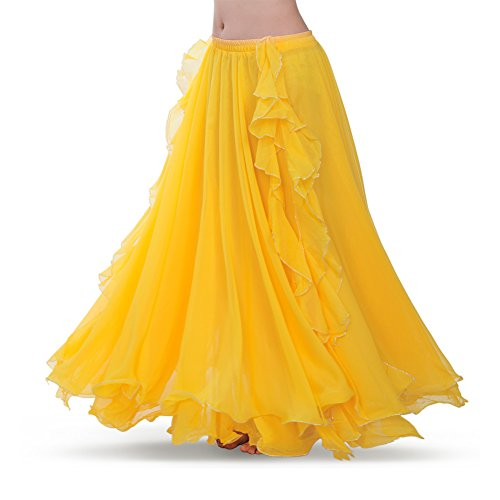 (ROYAL SMEELA Women's Belly Dance Chiffon Skirt ATS Voile Maxi Full Dress Bellydance Skirts Yellow One Size)