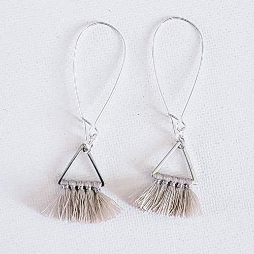 Dainty Jewelry Small Tassel Earrings Tassel Jewelry Dark Royal Blue Small Fringe Earrings Minimalist Jewelry Triangle Fan Tassel Earrings