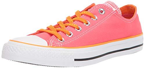 Converse Women's Chuck Taylor All Star Neon Low Top Sneaker, Racer Pink/Orange Rind/White, 9.5 M US (Orange Converse Sneakers)