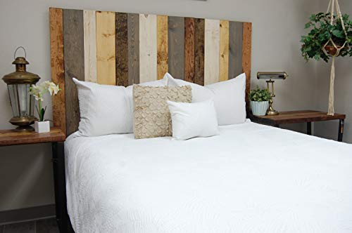 - Rustic Mix Headboard King Size, Hanger Style, Handcrafted. Mounts on Wall. Easy Installation