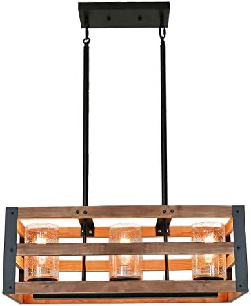 Eumyviv Rectangle Three Tiers Wood Metal Pendant Lamp with Glass Shade Black Finished Retro Rustic Vintage Industrial Edison Ceiling Lamp Linear Chandeliers C0027 3-Lights