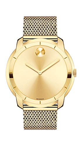 Movado Women's BOLD Thin Yellow Gold Watch with a Flat Dot Sunray Dial, Gold (Model 3600373) ()