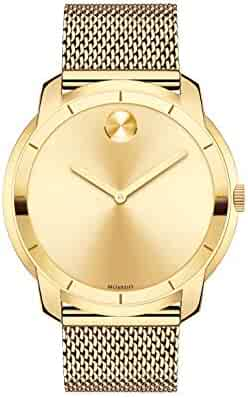 Movado Men's Swiss-Quartz Watch with Gold-Plated-Stainless-Steel Strap, 22 (Model: 3600373)