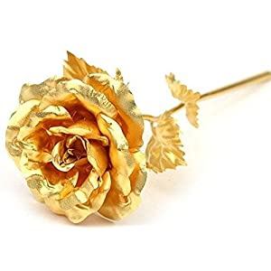 "Lightahead 24K Gold Rose Foil Flowers Handcrafted with Gift Box The Ultimate, 7.87"" L 107"