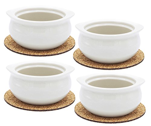 Ecodesign Bowls - Set of 4 - Premium French Onion Soup Bowls - Off-White - 300 ml (10.5 Ounce) with the Cork Coasters - Porcelain Classic European Style Healthy Portion Crocks  - Oven/Microwave safe