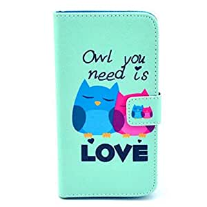 Colorful Patern Pu Leather Wallet Card Case Flip Stand Cover for Samsung Galaxy Core I8260 I8262 (Blue Red Owl + LOVE)