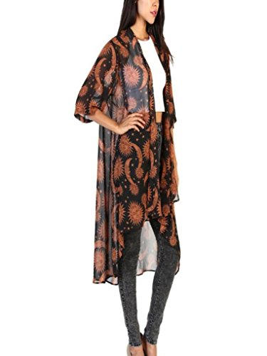 GOVOW Cardigan Women Floral Print Chiffon Loose Shawl Kimono Top Cover up Shirt Blouse