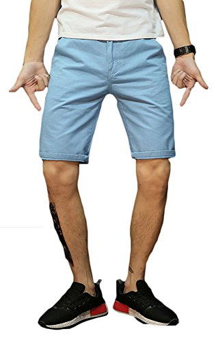 Plaid&Plain Men's Slim Fit Flat Front Twill Cotton Chino Shorts LightBlue 30