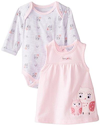 Rene Rofe Baby Baby Girls' Owl Jumper Set with Bodysuit, Pink/Gray 6-9 Months