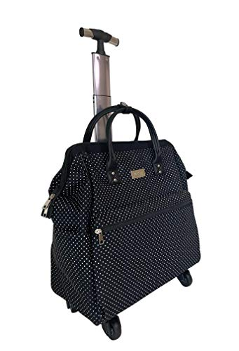 "Ritsy 20″ Computer Laptop Tote Rolling Wheel Case Luggage Carry-on Purse Bag""Marbled White"" (White on Black Polka Dots)"