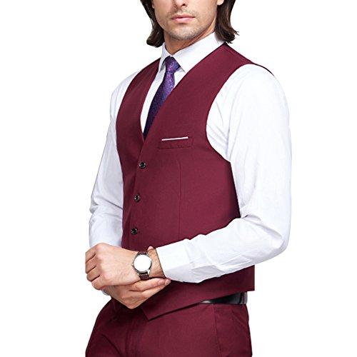 Bordeaux Vintage Sans Tweed V Mariage Col Formel Fit Waistcoat Gilet Manches Slim Hommes Classique Style Business FqZwS8X