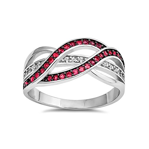 Ruby Simulated Marquise - Half Eternity Weave Knot Ring Crisscross Crossover Simulated Red Ruby Round CZ 925 Sterling Silver