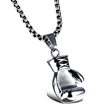 Hamoery Men Women Punk Stainless Steel Boxing Glove Chain Pendant Necklace