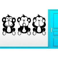 Wall Sticker Three Wise Monkey No Evil Monkey Smart Clever Intelligent VS2531