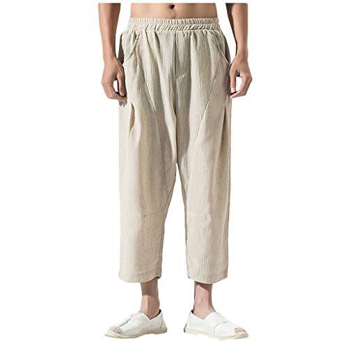 QueenMM Loose Fit Cotton Pants Casual Solid Comfort Straight Calf-Length Pants Khaki]()
