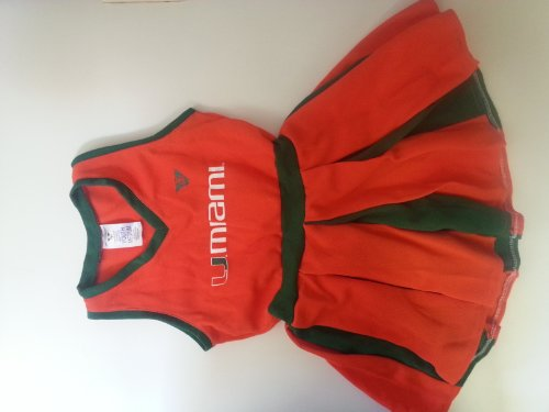 [Miami Hurricanes youth medium ages 4 to 6 Cheerleader outfit] (Cheerleader Outfit For Girls)