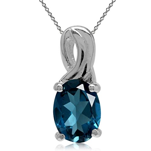 1.36ct. Genuine London Blue Topaz 925 Sterling Silver Solitaire Pendant w/ 18 Inch Chain Necklace Blue Topaz Solitaire Pendant