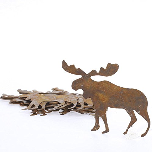 (Package of 12 Rusted Tin Moose Cutouts - for Rustic, Lodge and Holiday)