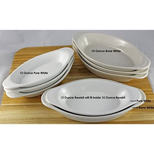 ITI Ceramic Oval Rarebit / Au Gratin Baking Dish with Pan Scraper, Set of 4 (12 Ounce, Bone White)