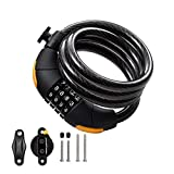 Via Velo Bike Lock Combination Cable Lock Combinationa Lock with 4-Feet Bike Cable 12mm Basic Self Coiling Resettable Combination with Complimentary Mounting Bracke Best for Bicycle,gate Fence,Tools