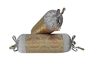 Indian Silk Bolster Pillow Cover Gray Elephant Brocade Round Cylinder Case Pair