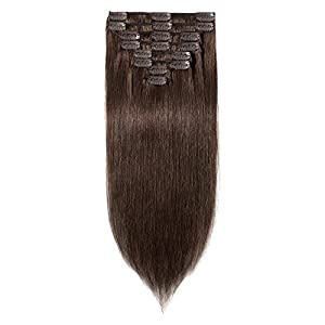 10 inch 70g Clip in Remy Human Hair Extensions Full Head 8 Pieces Set Short length Straight Very Soft Style Real Silky for Beauty #4 Medium Brown