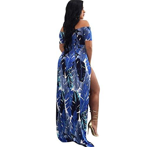Sommerkleid Damen, Bekleidung Longra Frauen reizvolles weg vom Schulter-Kleid Druck-aufgeteiltes elastisches Abend-Partei-Kleid Blue