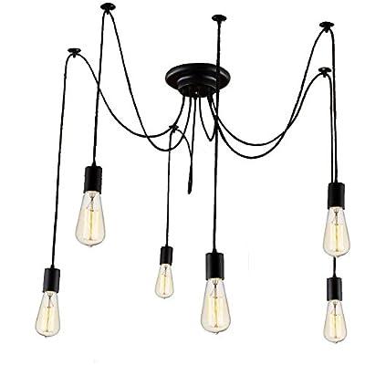 Lemonbest 6 Head E27 Vintage DIY Ceiling Chandelier Light Fixtures Antique Adjustable Flush Mount Pendant Light Lamp