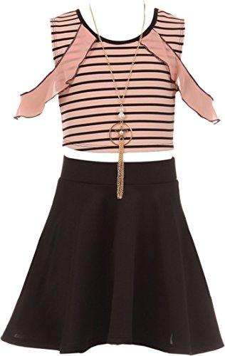Striped Crop Top Summer Casual 2 Pieces Skirt Set (21JK17S) Blush 8 ()