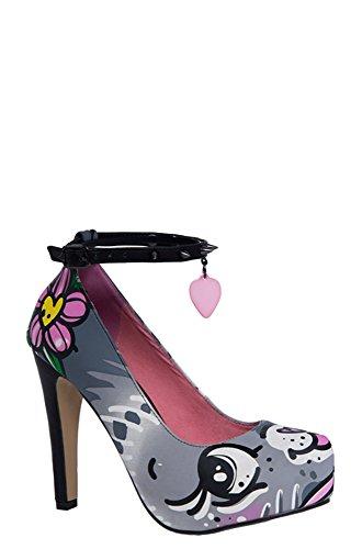 Cat Platform Shoes (Iron Fist Women's Pussycat Platform Shoe, Grey, 7 M US)