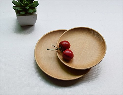 Miyare Japanese Style Dessert Saucer, Round Wooden Small Dish for Afternoon Tea (Large)