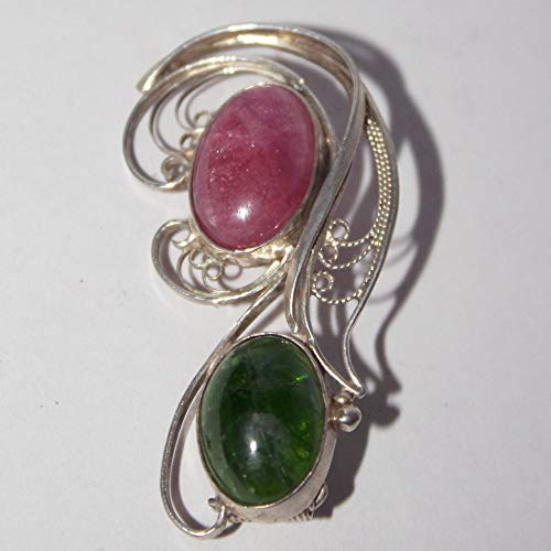 Chrome diopside tourmaline filigree brooch